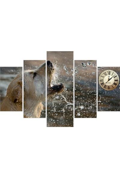 Meteor Galeri Islanmış Köpek Dekoratif Saatli Kanvas Tablo