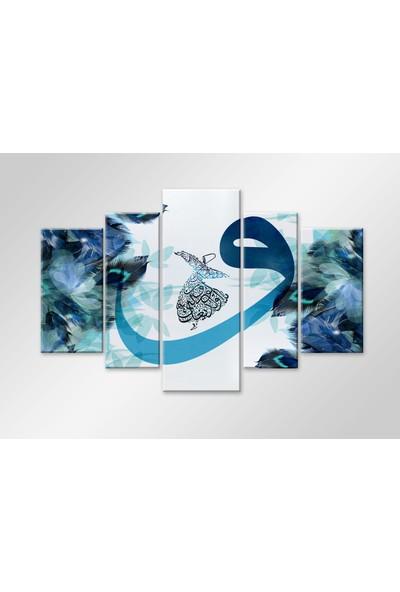Meteor Galeri Vav Ve Semazen Mavi Kuş Tüyü 5 Parça Kanvas Tablo