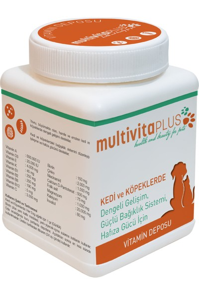 Multivita Plus Kedi ve Köpek Vitamin Kompleksi 50 gr