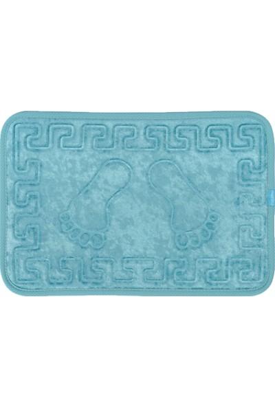 Veldana Kaydırmaz Ayak İzi Desenli Banyo Paspası Turkuaz 60 x 40 cm