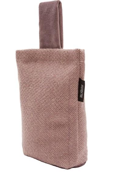 McAlister Textiles Heringbone Kapı Stoperi Yün Görünümlü Lila Rengi 17 x 21 cm