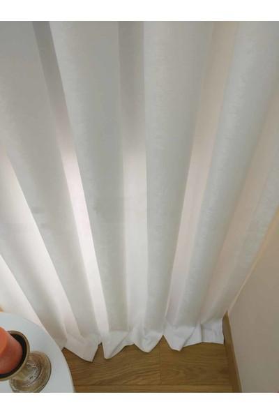 Caserta Home Düz Beyaz Orta Sıklıkta Pileli Tek Kanat Fon Perde - Melis Ada V01