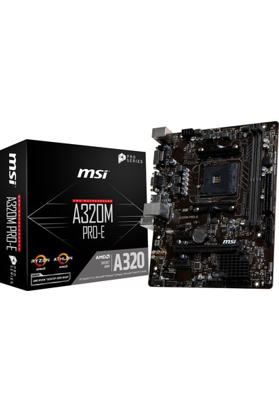 MSI A320M PRO-E AMD A320 3200(OC)MHz DDR4 Socket AM4 mATX Anakart