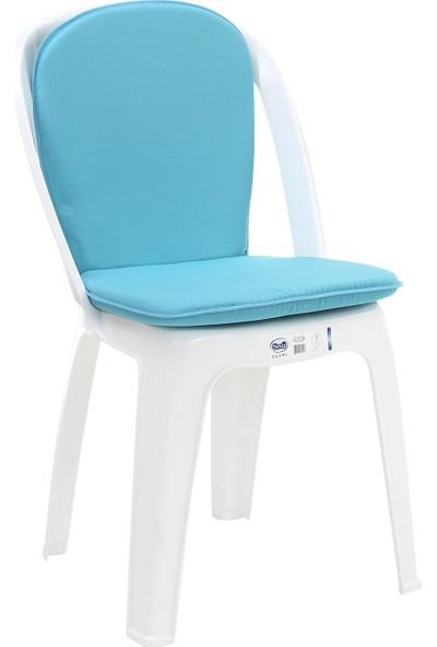 Sandalye Minderi Arkalıklı Minder Fermuarlı Mono Minder Turkuaz