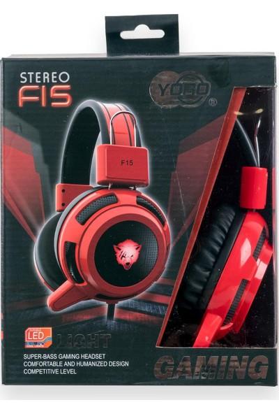 Yoro Yr-F15-B Mikrofonlu Işıklı Gaming Kulaklık Kırmızı