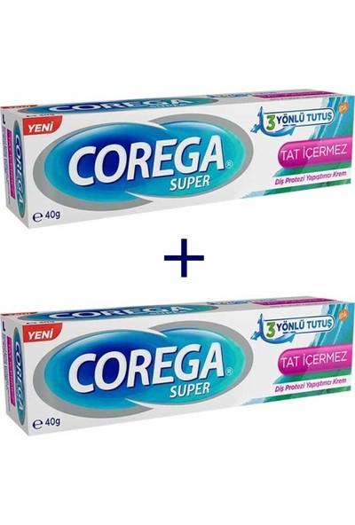 Corega Süper 3 Yönlü Tutuş Diş Protez Yapıştırıcı Krem Tat İçermez 40 gr - 2 Adet