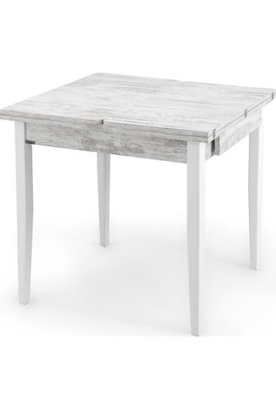 Evmazon Mutfak Masa Takımı Ahşap Açılır Masa 4 Sandalye Nilsa Beyaz