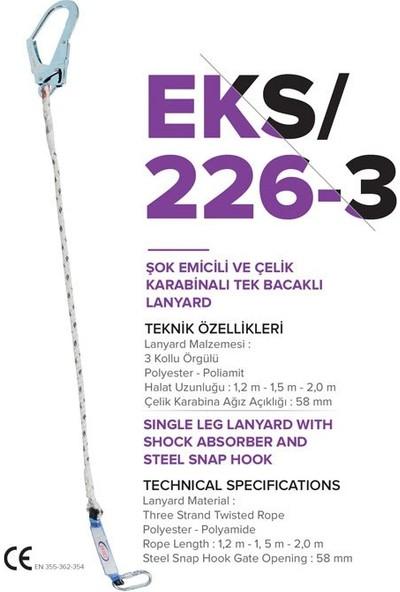 Eks 226-3 Şok Emicili & Çelik Karabinalı Tek Bacaklı Lanyard