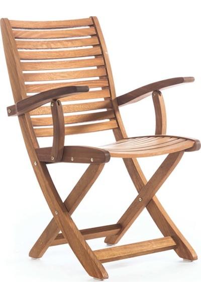Garden Modern Fine Kolçaklı İroko Katlanır Sandalye