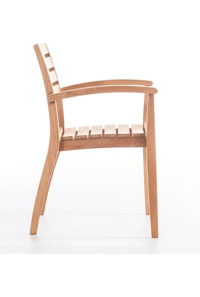 Garden Modern Flat Sabit Kolçaklı Katlanır İroko Sandalye