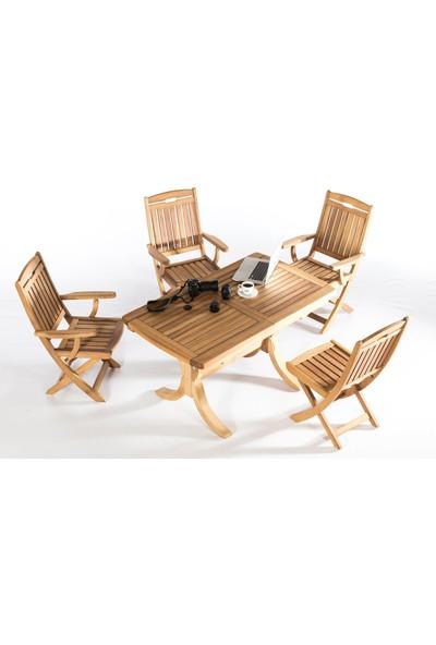 Garden Modern Mia Düz Kolçaklı Katlanır İroko Sandalye
