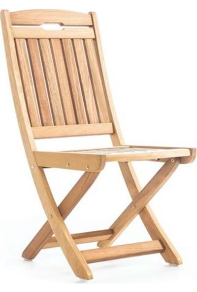 Garden Modern Mia Düz Kolçaksız Katlanır İroko Sandalye