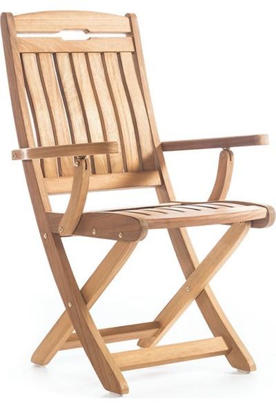 Garden Modern Mia S Kolçaklı Katlanır İroko Sandalye