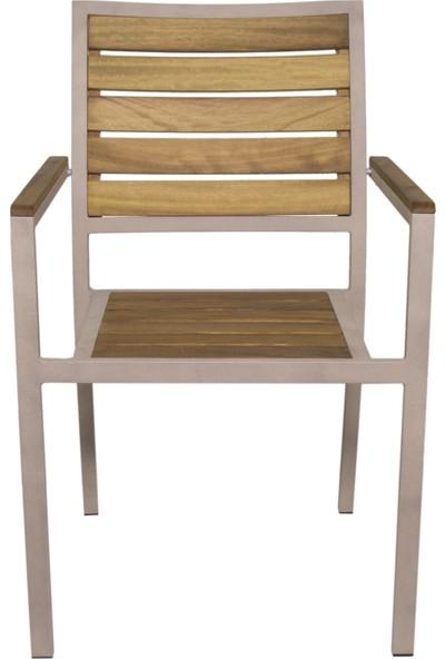 Garden Modern Noble Aluminyum Gövdeli İroko Sandalye