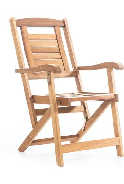 Garden Modern Okka Kolçaklı Katlanır İroko Sandalye