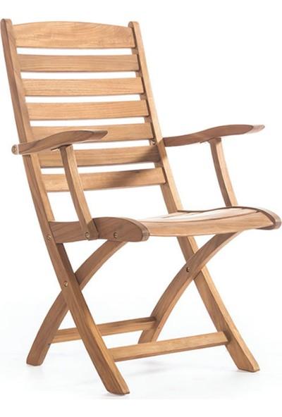Garden Modern Sahra Kolçaklı Katlanır İroko Sandalye