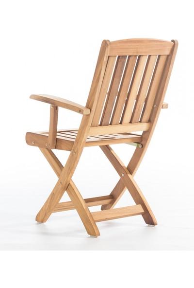Garden Modern Star Kolçaklı Katlanır İroko Sandalye