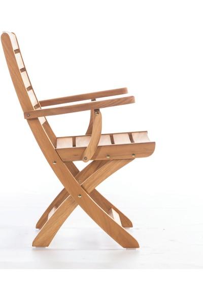 Garden Modern Şan Kolçaklı Katlanır İroko Sandalye