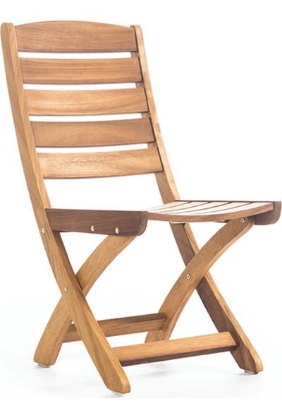 Garden Modern Şan Kolçaksız Katlanır İroko Sandalye