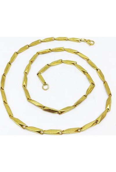 Depo Dolusu Gold Sarı Çelik Erkek Zincir Kolye