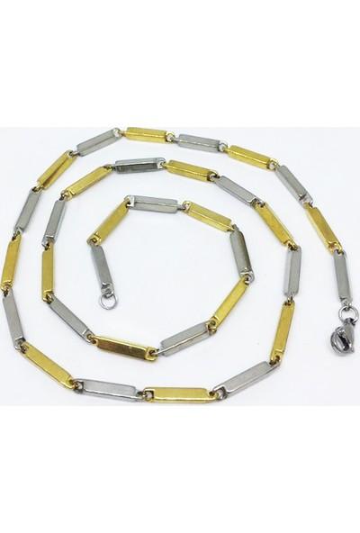 Depo Dolusu Sarı Metal Erkek Çelik Kolye
