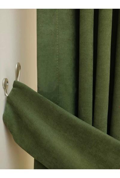 Caserta Home Düz Çimen Yeşili Orta Sıklıkta Pileli Tek Kanat Fon Perde - Melis Ada V16