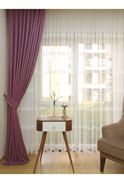 Caserta Home Düz Koyu Lila Orta Sıklıkta Pileli Tek Kanat Fon Perde - Melis Ada V21