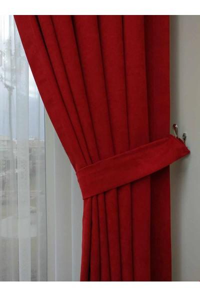 Caserta Home Düz Kırmızı Sık Pileli Tek Kanat Fon Perde - Melis Ada V12477-23
