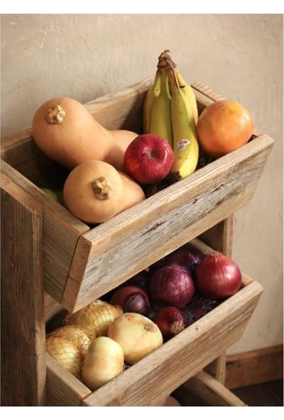 Doğal Masif Ahşap Meyve Sebze Sepeti - Mutfak - Banyo Rafı