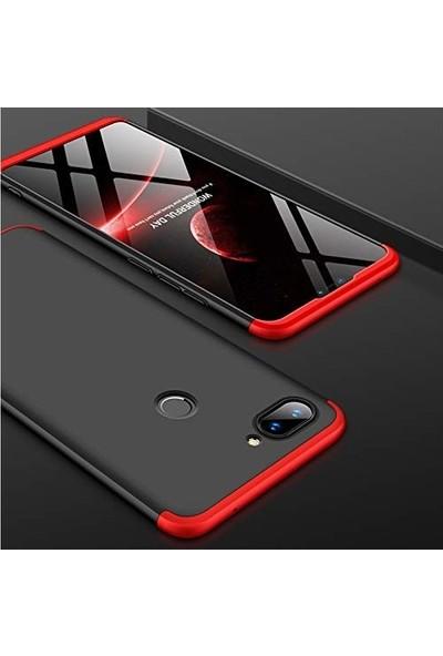 Jopus One Plus 5 Kılıf 3 Parça 360 Tam Koruma Ays Kapak - Siyah Kırmızı + Cam Ekran Koruyucu