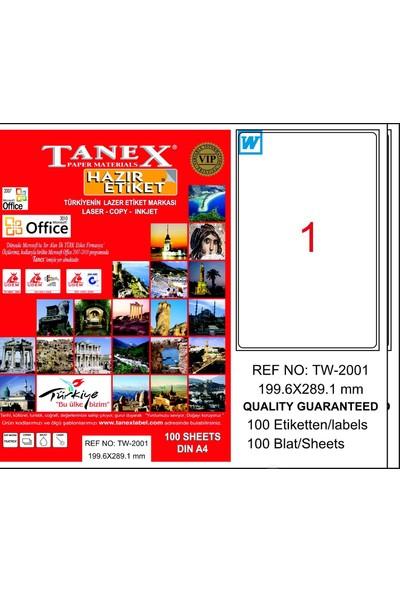 Tanex TW-2001 199,6x289,1 mm Laser Etiket 100 Ad.