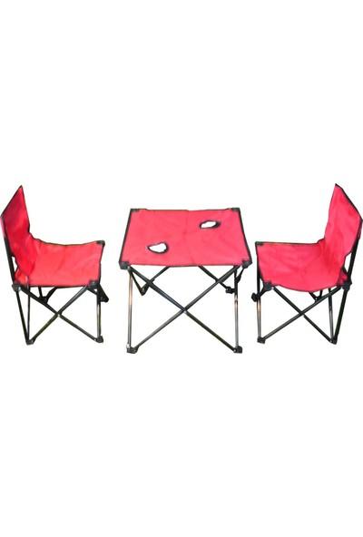 Andoutdoor 2 Sandalye 1 Masa Çantalı Set Kırmızı AND200