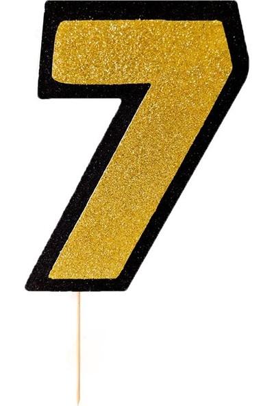 Party Marty Strafor Çubuklu Rakam 7 Yaş Altın