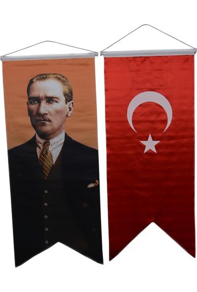 Bayrakal Kırlangıç Saten Türk Bayrağı Ve Atatürk Resmi