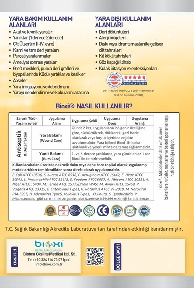 Bioxi® Wound Care Yara Bakım Temizleme Solüsyonu - 500 ml