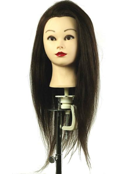Miss Hair Eğitim Peruğu Manken / %100 Doğal Saç / Koyu Renk