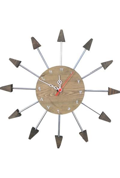 Bahattedarik Ahşap Güneş Duvar Saati Çap 42 cm