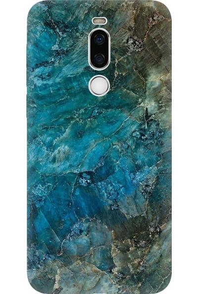 Cekuonline Meizu X8 Kılıf Desenli Esnek Silikon Telefon Kabı Kapak - Mavi Mermer