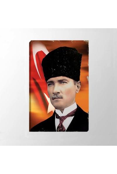 Piri Sanat Atatürk Bayrak Fonlu Eskitmeli Fotoğrafı Kanvas Tablo