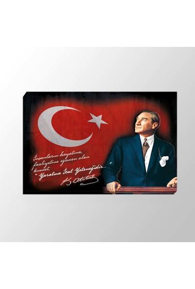Piri Sanat Bayraklı Atatürk Sözü Kanvas Tablo