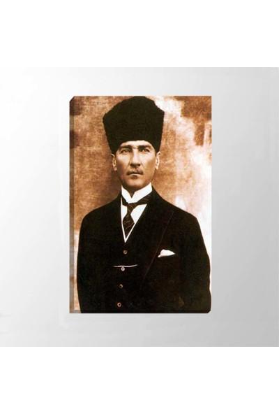 Piri Sanat Atatürk Kalpaklı Eskitmel Fotoğrafı Kanvas Tablo