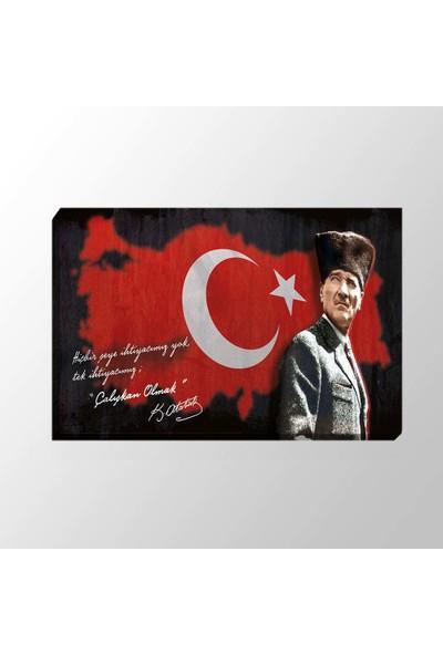 Piri Sanat Bayrak Fonlu Atatürk Kanvas Tablo