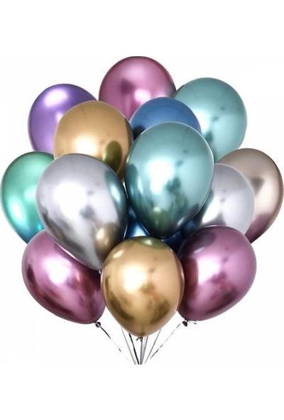 Happy Land Krom Balonlar Parlak 10 Adet Karışık Renklerde