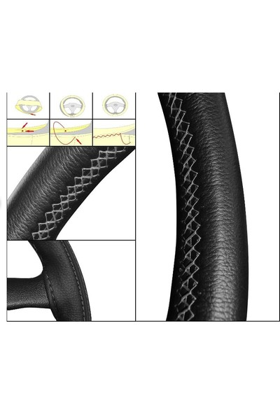 Autoen Suzuki Grand Vitara Deri Direksiyon Kılıfı Sarmalı Dikmeli Siyah Dikişli Kokusuz Noktalı