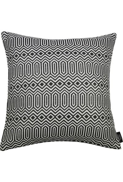 McAlister Textiles Colorado Yastık Kılıfı Geometrik Desen Siyah Dekoratif Kırlent 60 x 60 cm