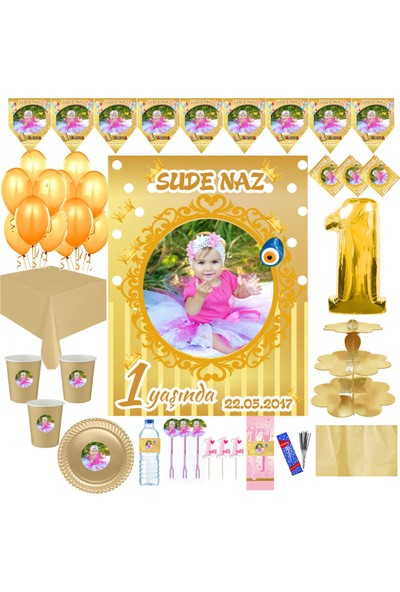 Magnetparti̇ Gold Doğum Günü Parti Seti Kız Bebek Gold Yaşgünü Parti Seti