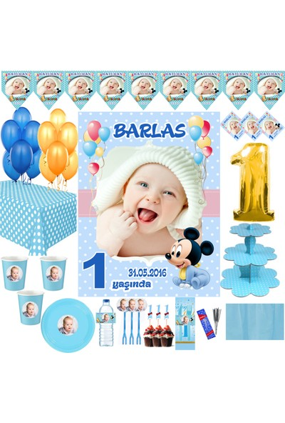 Magnetparti̇ Baby Maouse İlk Yaş Konsepti 1 Yaş Süslemeleri 16 Kişilik Set