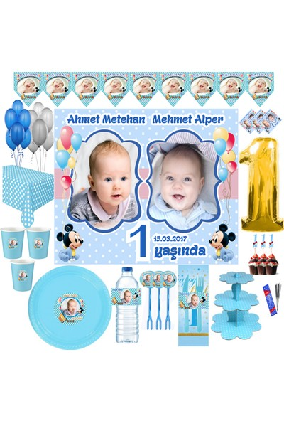 Magnetparti̇ Erkek Bebek İkiz Parti Seti 16 Kişilik Parti Süsleme Konsepti