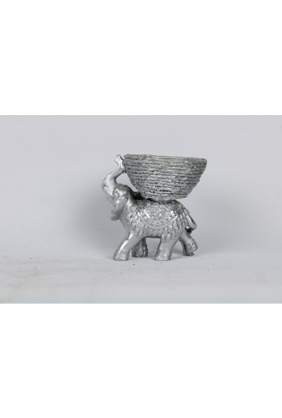 Laçes House Lokumluk Dekoratif Polyester Döküm Fil Eg-13-Gümüş