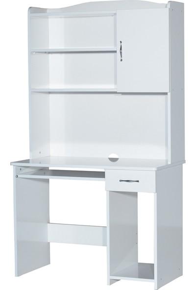 Laçes House Çalışma Masası Raflı Kapaklı T-405 Beyaz